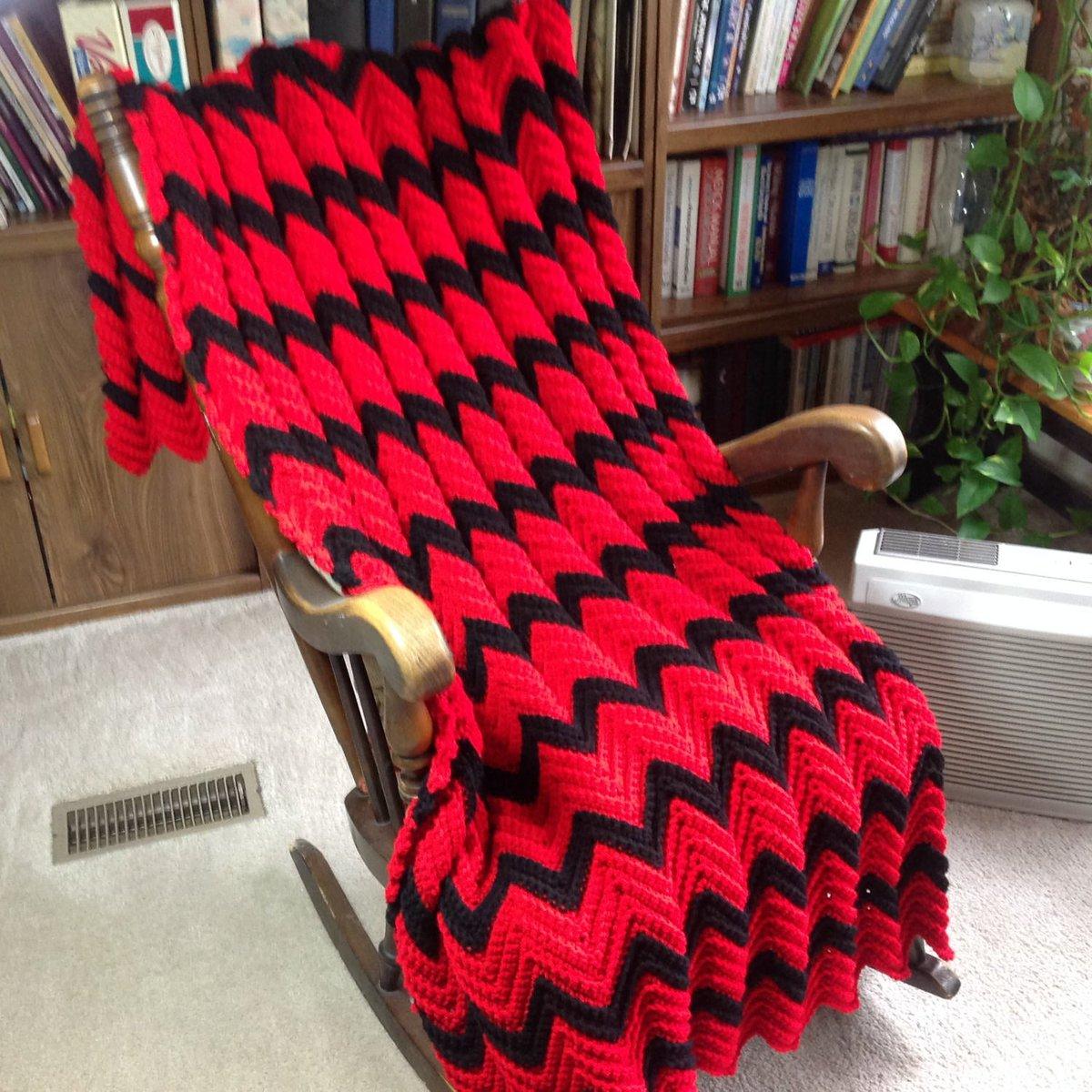 Red & Black Chevron Pattern Afghan/Throw/Blanket_Hand Crocheted_School/Team Colors_Dorm Decor_Grad Gift_Machine Wash_Free Ship_Made in USA  http:// tuppu.net/f9a4fb11     #Etsy #YarnQueens #MadeInUsa <br>http://pic.twitter.com/JK8PHqquIR