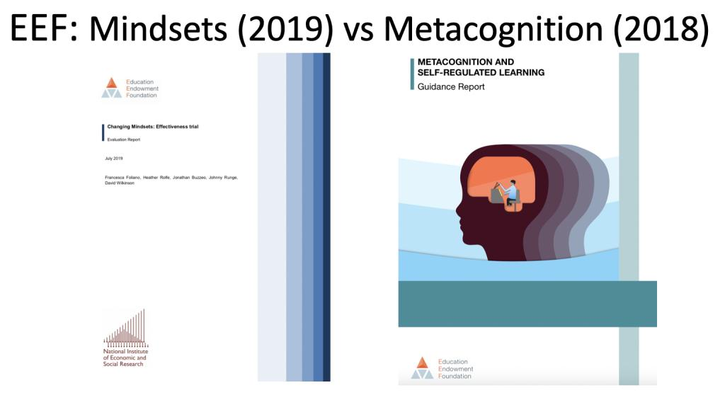 Mindsets vs Metacognition. Two EEF reports and a clear conclusion. teacherhead.com/2019/09/15/min…