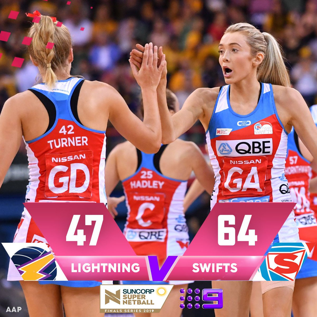 THEY'VE DONE IT! The @NSWSwifts are the 2019 Super Netball Champions ❤️💙WATCH: @Channel9#9Netball #SSNLightningSwifts #SSNGrandFinal #LIGvSWI