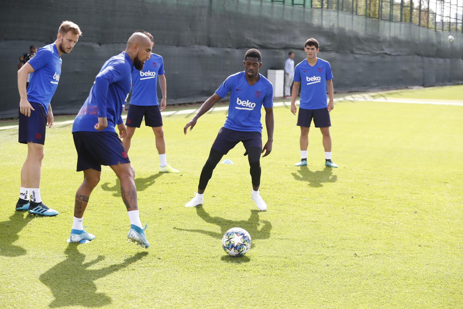 Dembélé, al igual que Leo Messi, participó en el entrenamiento del Barcelona (Foto: FCB).