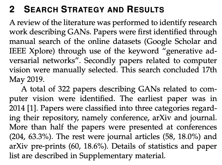 特に出版も引用もされていないものの無難にまとまっているGANのサーベイ論文なんだけど、こういうことをわざわざ書くあたり昨今の機械学習分野におけるサーベイの辛さが端的に現れている