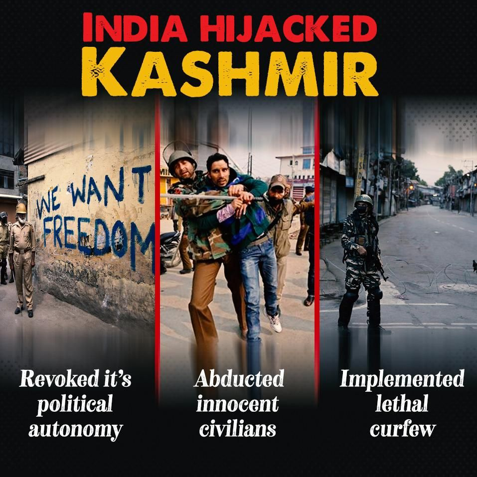 India has locked down #kashmir & wants to suppress every voice which expose the Indian atrocities, aggression & injustices against minorities.  #FreeKashmir #WeStandWithKashmirWeStand #unlockkashmirtobreath <br>http://pic.twitter.com/3i2YpF1oqW