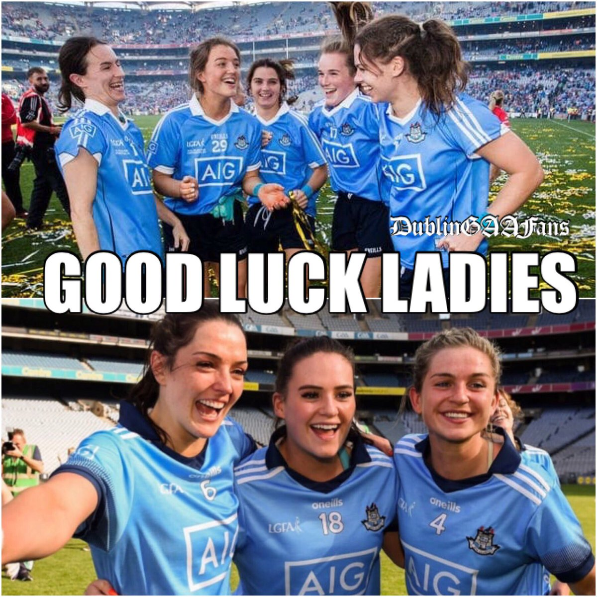 IT'S LADIES' DAY! Wishing the very best of luck to our Girls in Blue as they take on Galway in the All Ireland Final this afternoon. Let's go, 3-in-a-row! #COYGIB