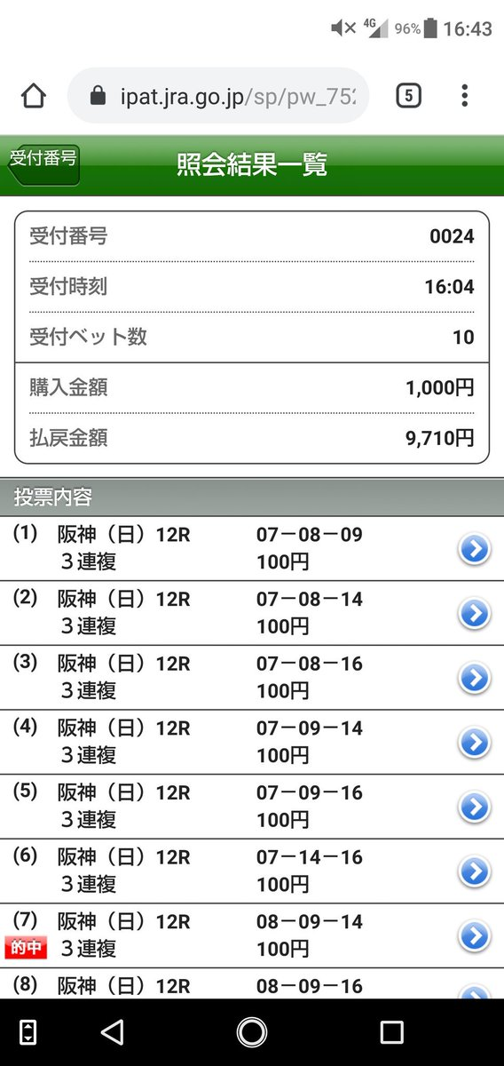 @hajime_keibaoh 阪神最終どうでしたか?先週のリベンジ果たしましたよ😃川田騎手信じてれば3連単も買えましたが武豊が怪しいかと思ってしまい3連複にとどまりました。 3連単武豊と川田の2頭軸マルチでメイショウ軍団3頭へ流した1800円で 10万円取れてました😅