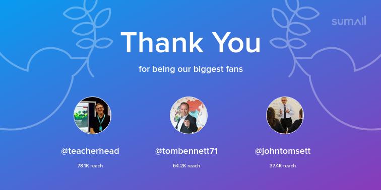 Our biggest fans this week: teacherhead, tombennett71, johntomsett. Thank you! via sumall.com/thankyou?utm_s…