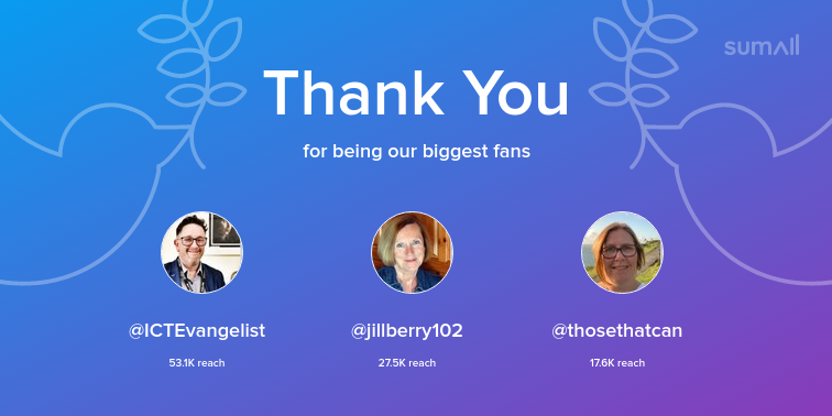 Our biggest fans this week: ICTEvangelist, jillberry102, thosethatcan. Thank you! via sumall.com/thankyou?utm_s…