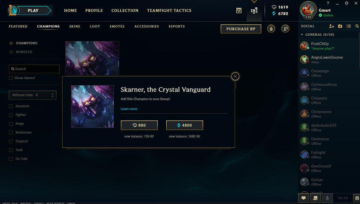 after playing League of Legends since like 2012, I have finally purchased all available champions