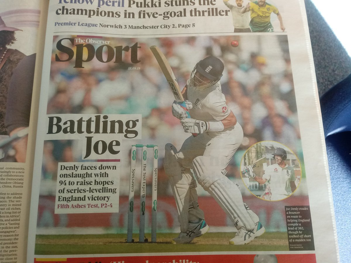 Joe Denly is the talk of the Sunday papers after starring with the bat on day three of the fifth Ashes Test 🌟📰🏺👍 Watch Englands push for a series-tying victory over Australia from 10.30am on Sky Sports The Ashes 🏴󠁧󠁢󠁥󠁮󠁧📺🕥⚖️ #ENGvAUS #Ashes #Ashes2019