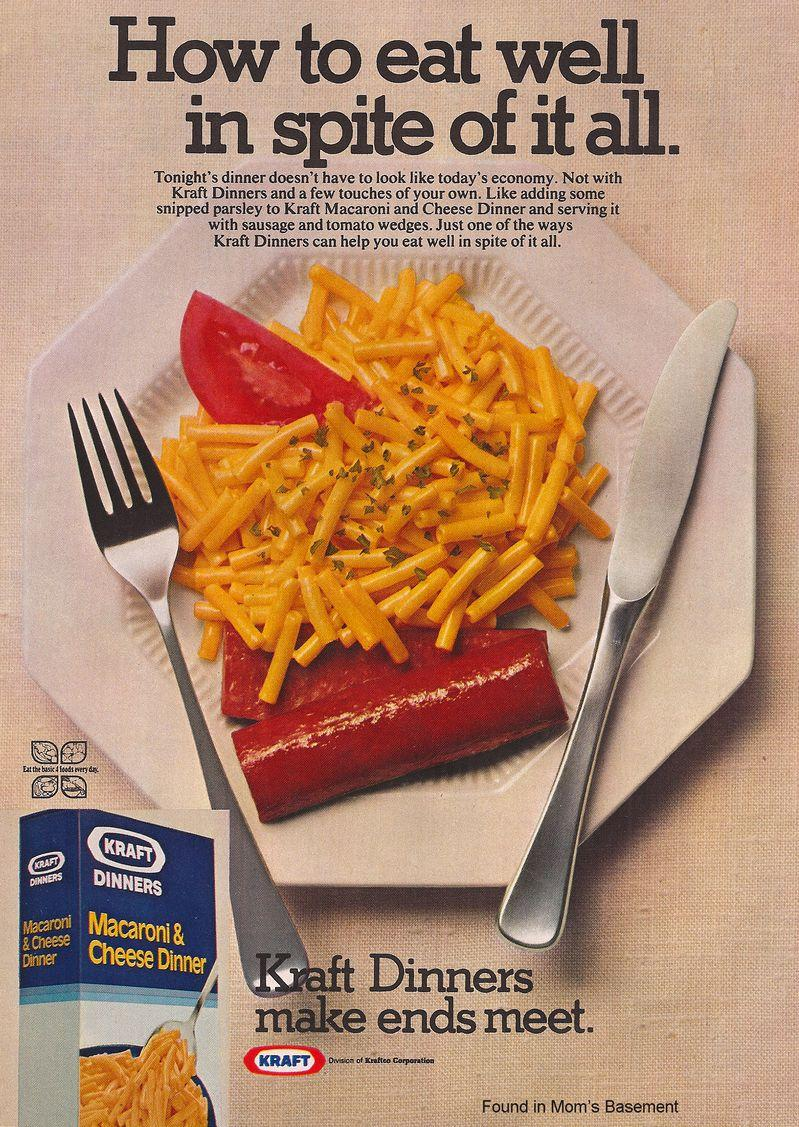 """How to eat well in spite of it all."" - Kraft Dinners ad [ c.1975]  https:// advertisingpics.tumblr.com/post/187718871 633/how-to-eat-well-in-spite-of-it-all-kraft   … <br>http://pic.twitter.com/nnommAPwMH"