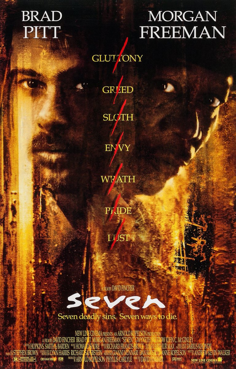 Gluttony Greed Sloth Envy Wrath Pride Lust  Se7en premiered in New York City on this day in 1995. - Mike<br>http://pic.twitter.com/BpChbO6iGw