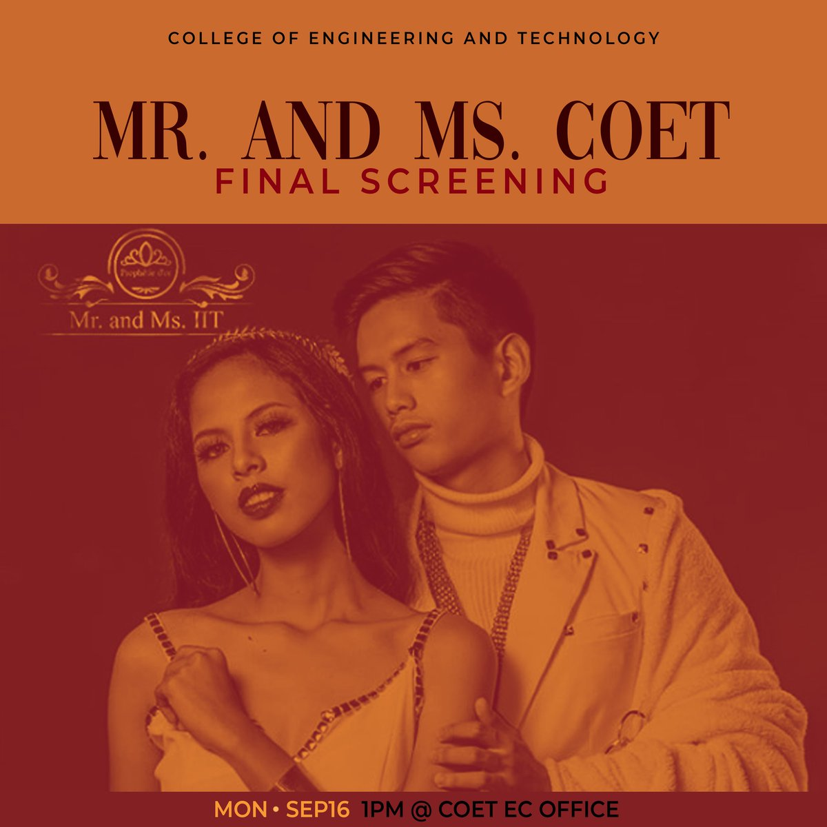 I know you got beauty and brain, COET ka, dili? We are all beautiful and smart in the college of engineering and technology. Be the pride of our college as you become our MR and MS COET 2019! This is the final screening of Mr and Ms COET. Tomorrow, Sept 16, 1PM at COET EC! <br>http://pic.twitter.com/44YzSl3Hq2