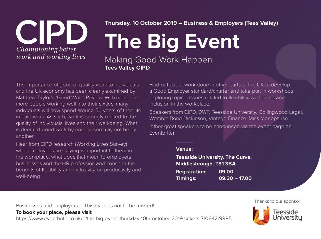 This years #tees_cipd The Big Event is not to be missed. Taking place on 10 October 2019 @TeessideUni. Secure your ticket via Eventbrite eventbrite.co.uk/e/the-big-even…