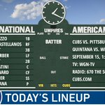 Here is today's #Cubs starting lineup. #EverybodyIn  Game preview: https://t.co/HQgzAWIA0Q