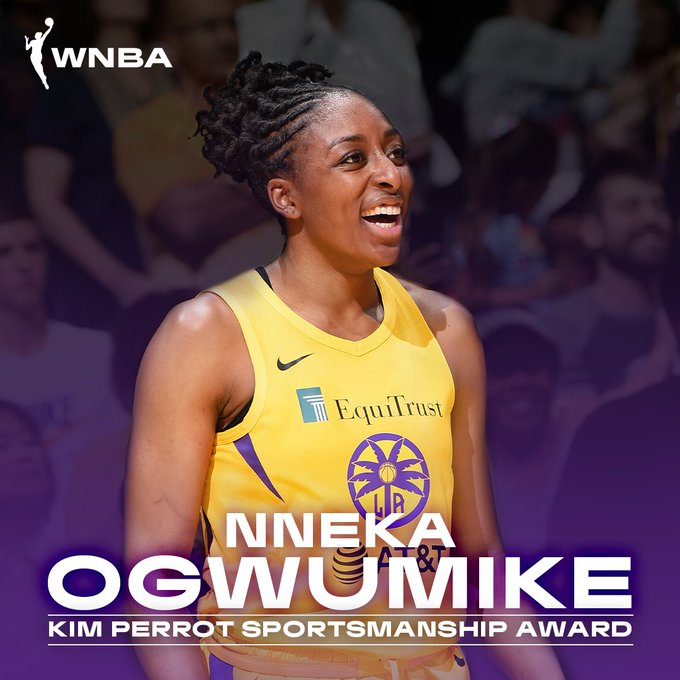 Congratulations to @Nnemkadi30 on winning the 2019 #WNBA Kim Perrot Sportsmanship Award 👏  Full release ➡️ https://t.co/rt6