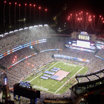 Image for the Tweet beginning: Enel turns Gillette Stadium green
