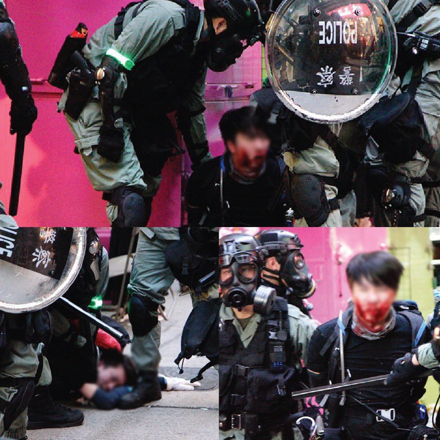 Gosh @hkpoliceforce why the fuck did you have to rub his face against concrete floor?! @amnestyusa @amnestyHK  that's #torture #HumanRights #FreeHongKong #FreedomHK #antiELAB #hkprotest <br>http://pic.twitter.com/K7cSkW9TyC