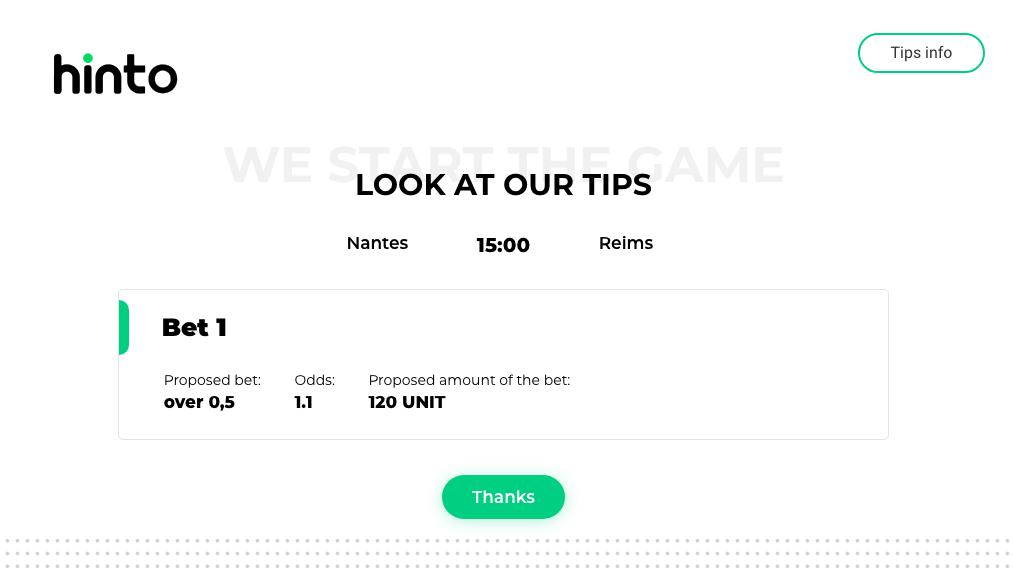 Get to know with latest prediction from hinto platform.   Nantes - Reims (Ligue 1, France) OVER 0,5 (odds 1.10)   Roma - Sassuolo (Serie A, Italy)  1X (odds 1.23)   @Betfair #betting #platform #tool<br>http://pic.twitter.com/Dy9A0a0ol2