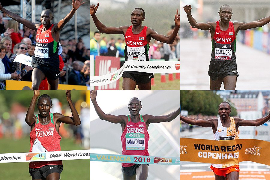 .@GKamworor has had a pretty good six-year period...  2014 World Half  2015 World Cross  2016 World Half  2017 World Cross  2018 World Half  2019 world half marathon record <br>http://pic.twitter.com/EKkRWLc22V