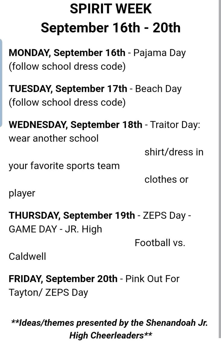 @ShenandoahK8 here is a Sunday morning reminder if you would like to participate in Spirit week with us. These are out Jr. High cheerleaders ideas and we want to show our Jr High football we are with them as they play Caldwell on Thurs. #makeIThappen <br>http://pic.twitter.com/BdS8RUuGh8