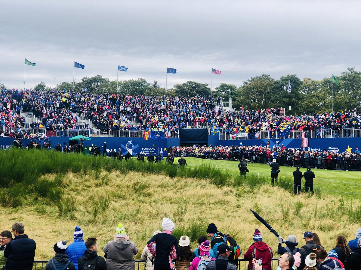 Wow what an atmosphere at the 1st!! Brilliant! Should be a cracking final day at the @2019solheimcup! Tune in to @BBCSportsound for LIVE comms with me and @AlanTait9 ...#ChangetheGame <br>http://pic.twitter.com/YWXbv52OJQ