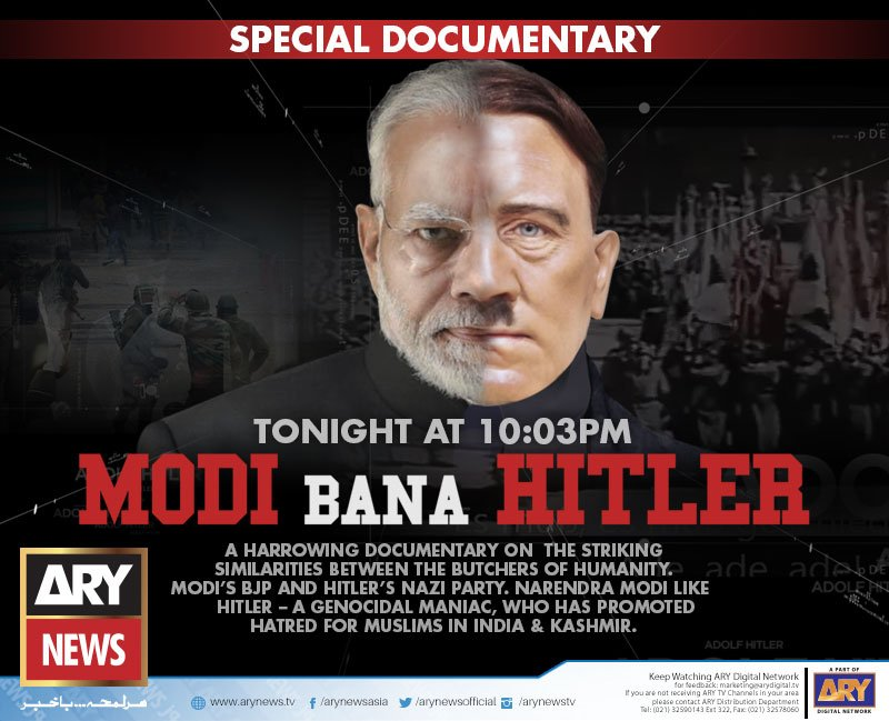 Watch Special Documentary 'Modi Bana Hitler' that will show the spine-chilling similarities between Modi's BJP and Hitler's Nazi Party as both opted for genocide and promoted hatred among humanity.  Catch it today at 10:03 PM only on #ARYNews #ModiBanaHitler<br>http://pic.twitter.com/g7uHJ1ntgm