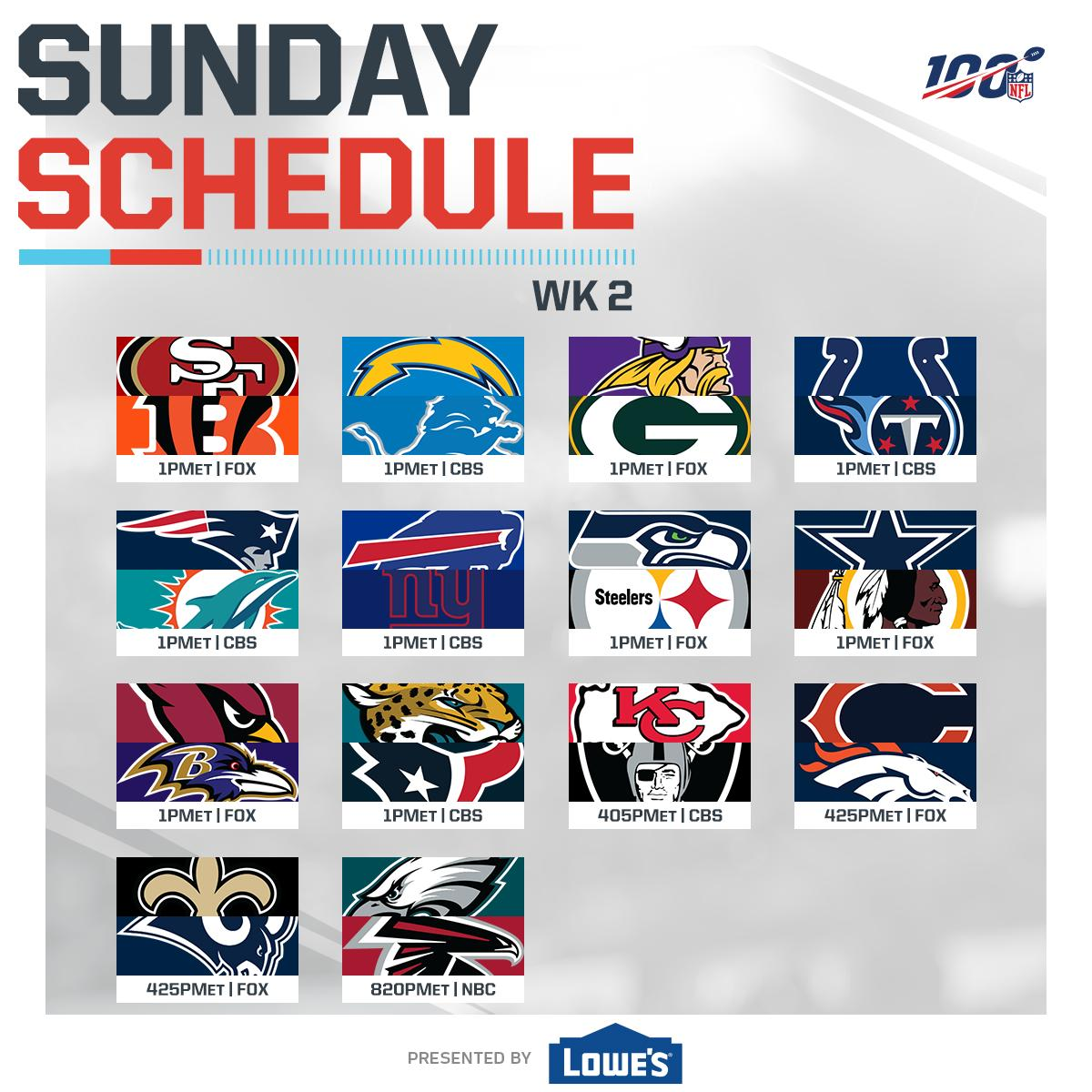 FULL slate of Week 2 football coming your way.   (by @Lowes)<br>http://pic.twitter.com/cgdOwEz6s9