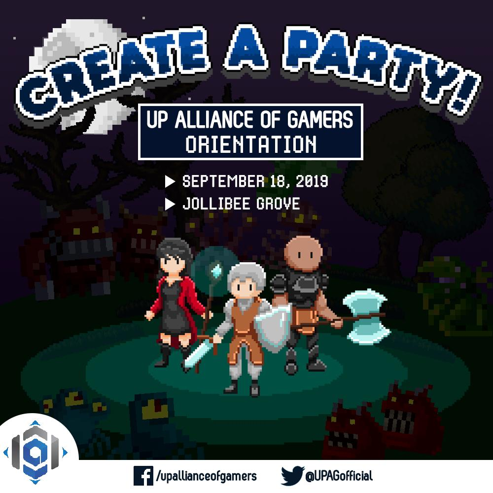 Ready up your gear and assemble your squad as we bring you Create a Party! A UP Alliance of Gamers Orientation! Get to know our organization on September 18, 7 PM at Jollibee Grove. Dinner is on us! See you there!  For inquiries, don't hesitate to contact Ciaila (09055295530) <br>http://pic.twitter.com/z5NctSCMjI
