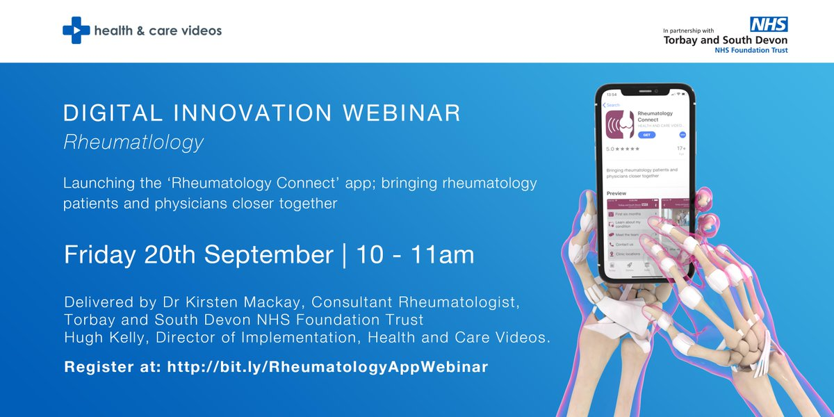 Join us NEXT WEEK for our #webinar on our latest #app 'Rheumatology Connect'. All clinical specialities welcomed as Phase 2 will be expanded into other areas of long term condition management.   Register here:  http:// bit.ly/RheumatologyAp pWebinar  … <br>http://pic.twitter.com/m22U95QI9C