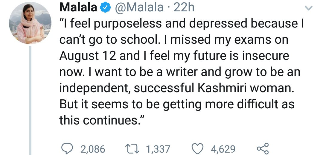 Propaganda without fact-check is the hallmark of #Pakistan hate-mongers. #ISI writes the script, Ms @Malala repeats it. 1337 folks RT it. 4629 folks 'Like' it.  August 12 was Eid-ul-Zuha or 'Bakri Eid' in #India including #Kashmir Valley. No examination was scheduled on that day.<br>http://pic.twitter.com/hPbWtNmu7U