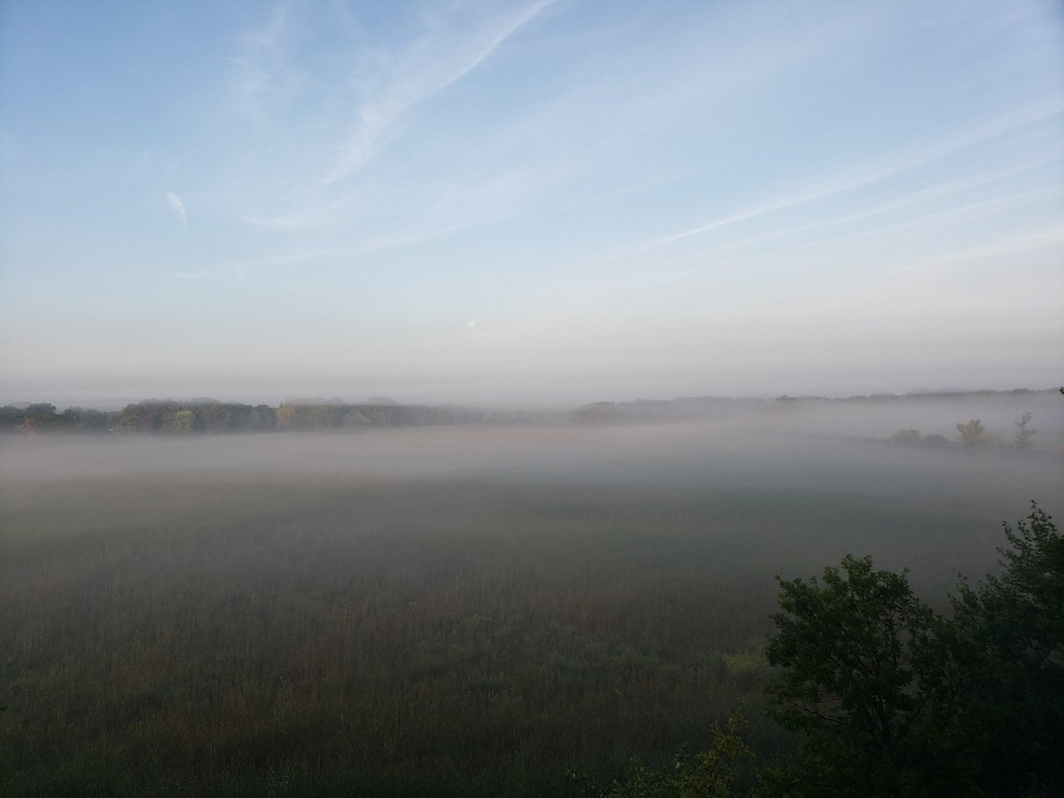 Good morning, #HackLearning, Mark here, elementary principal in Hopkins, MN. Fog over the wetlands this morning and we're expecting a beautiful, sunny day with a temp of 80°. <br>http://pic.twitter.com/5JcESjAVHk