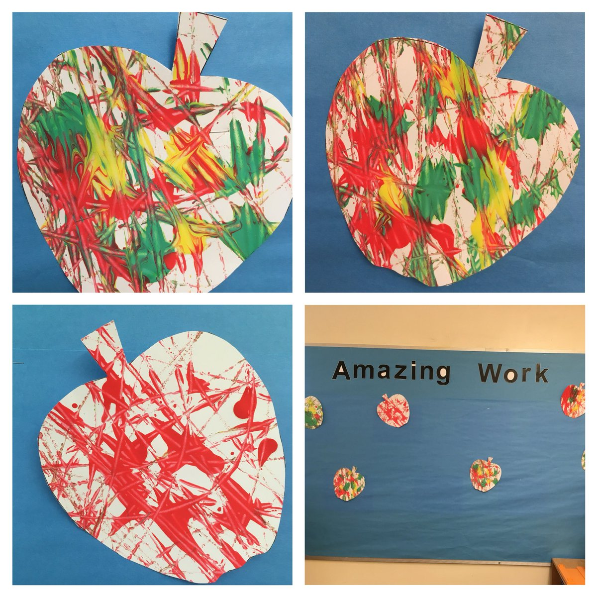 Ms Pre K On Twitter Adding To Our September Bulletin Boards We Are Doing An Apple Theme Marble Painting Sun Catchers With Contact Paper Prechool Preschoolteachersofinstagram Prekart Prekteachers Prek Specialeducation