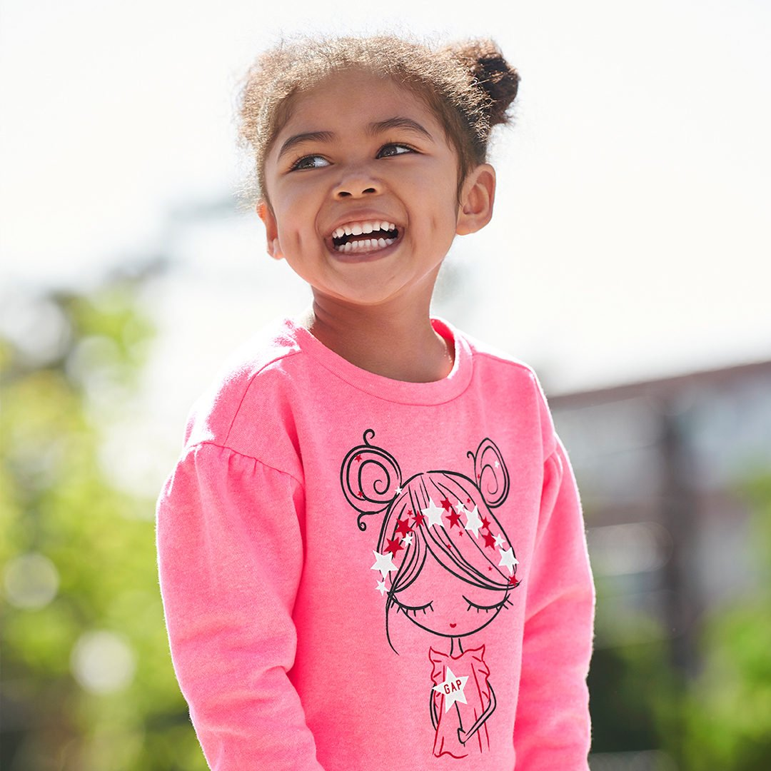 The best way to wear Bea, our free-spirited toddler: with a big smile (and a little leopard print). likeshop.me/gapkids #GapToSchool