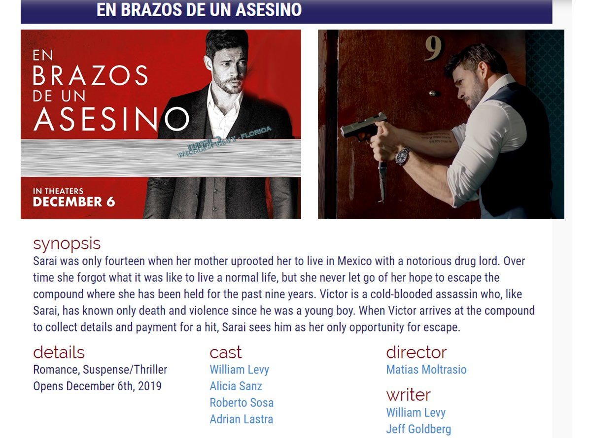 RT @WLW_Florida: #QuickLookFilms upcoming movies alert  @willylevy29 #EnBrazosDeUnAsesino #December6 https://t.co/GcbNFvUJf0