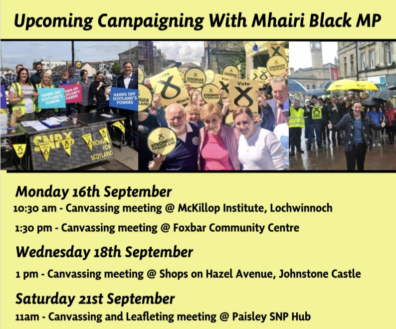 We have a choice, a choice to remain part of Brexit Britain or take our own path as an independent Scotland.   Join me for campaigning this week around Paisley and Renfrewshire South.  <br>http://pic.twitter.com/53GYAceCET