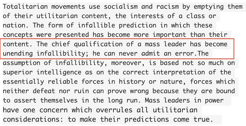 "When I've heard refs to Hannah Arendt foreshadowing Trump, I've assumed many were too-convenient reworkings, a la Abe Lincoln ""quote"": ""Don't believe everything on the Internet""  But this actually is from Origins of Totalitarianism (cf NOAA/Dorian) h/t DS   https:// archive.org/stream/ArendtH annah.TheOriginsOfTotalitarianism/Arendt%2C%20Hannah.%20%20The%20Origins%20of%20Totalitarianism_djvu.txt   … <br>http://pic.twitter.com/ZxMn7fPwmb"