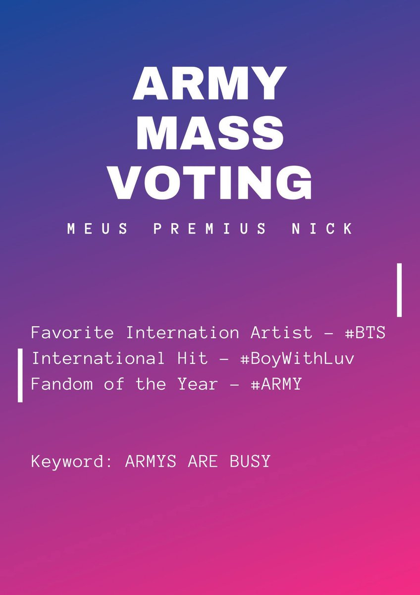 RT to vote and rep!y using    ARMYs ARE BUSY   #MPN #BTS #ARMY #BoyWithLuv @BTS_twt <br>http://pic.twitter.com/Ga2ve8LJj3