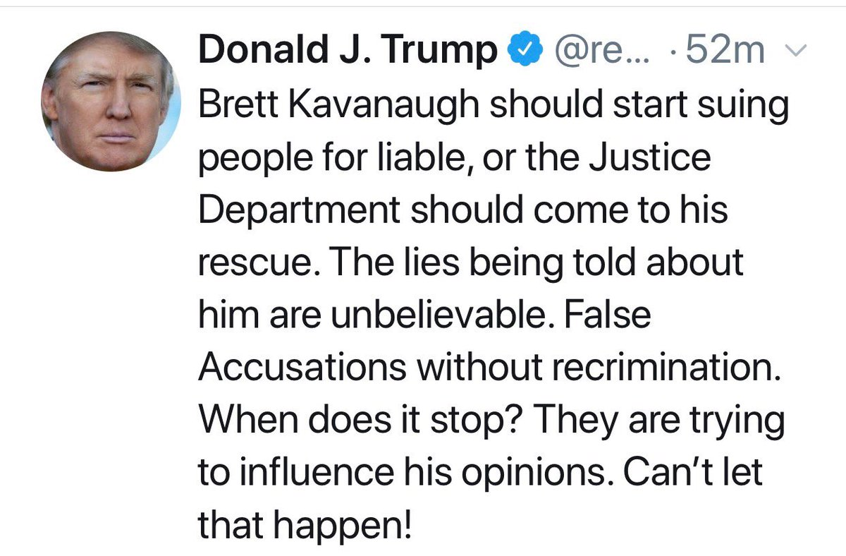 """He should sue for """"liable""""? Um...don't you mean """"libel""""? Should he also sue for """"deformation"""" (defamation) and """"slender"""" (slander). Also, the DOJ """"should come to his rescue""""? Really? Separate powers much? You know, I'm starting to think the president is not that bright ... https://t.co/0HjcDr7D9f"""