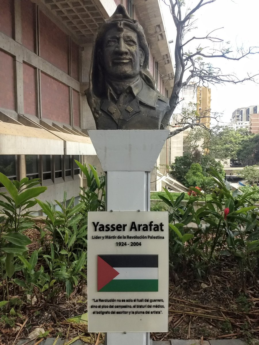 """In Venezuela's National Pantheon there's a statue honoring Yasser Arafat, """"leader and martyr of the Palestinian revolution""""  The quote: """"The revolution is not just the guerrilla's rifle, but also the peasant's pickaxe, the doctor's scalpel, the writer's pen, & the artist's brush"""" <br>http://pic.twitter.com/i8p6JSWnnc"""