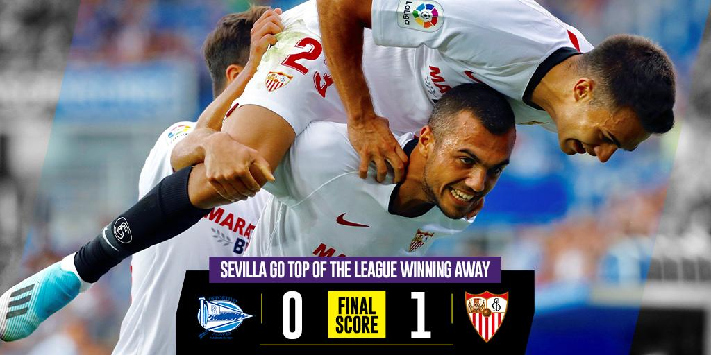 @SevillaFC_ENG is now the leader of @LaLigaEN   @CH14_ made his debut for Lopetegui   #AlavesSevillaFC<br>http://pic.twitter.com/CGqLiZrBN6