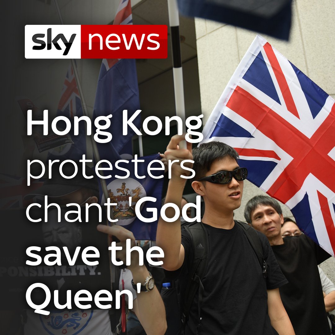 Demonstrators have rallied outside the British Consulate in Hong Kong, waving British flags and a Winston Churchill banner.To watch more videos from Sky News, head here: http://po.st/akKoZH
