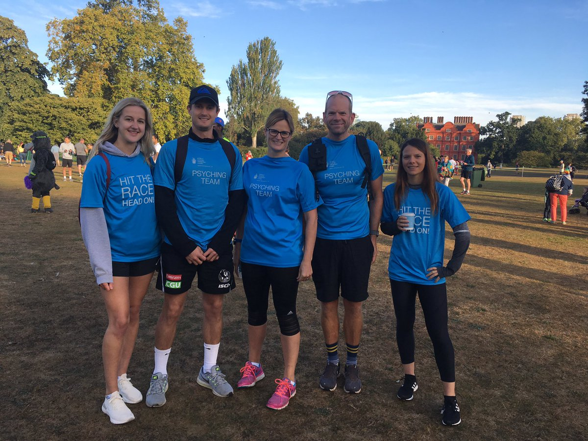 The St Mary's psyching team today at the @RichmondRunFest enjoying giving some last minute tips and high fives today. Well done to all the runners.