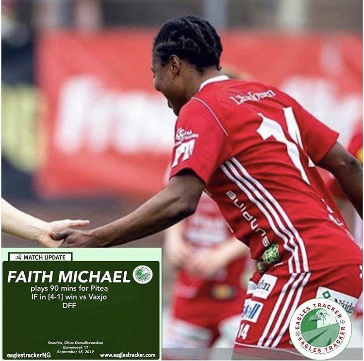 Super Falcons #defender, Faith Ikidi Michael @treasurefaith14 was in the heart of defence as #piteå #if @piteadam ran out comfortable [4-1] winners vs #vaxjo #dff in the #sweden #obos #damallsvenskan ———————————— #eaglestracker #naijafootball #superfalcons #soarsuperfalcons <br>http://pic.twitter.com/ixv8kJtBkV