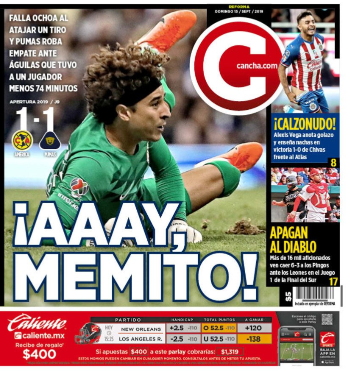 Guillermo Ochoa not having a dream return to Mexico. After yesterday's noteworthy mistake in net for Club America, the goalkeeper has been put under a negative spotlight by some Mexican sports papers. #LigaMXeng