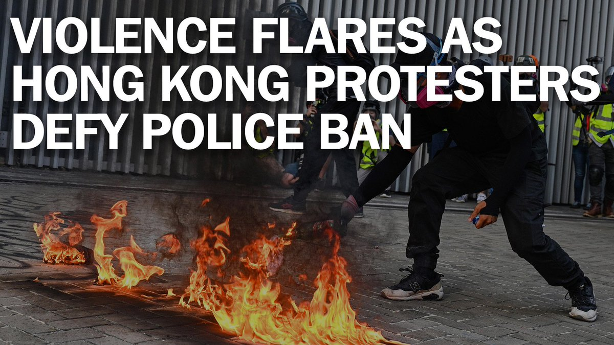 Violence flares as protesters defy a police ban to march through Hong Kong's streets mag.time.com/HkOJeeA