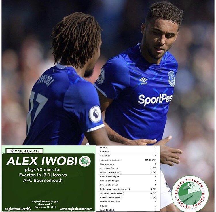 Super Eagles @ngsupereagles #Forward, Alex 'Big 17' Iwobi @alexiwobi featured for #everton @Everton in their #england #premierleague defeat vs #bournemouth  ————————— #eaglestracker #naijafootball #pl #epl #iwobi #alexiwobi #afcbournemouth #BOU #EVE <br>http://pic.twitter.com/Hy8SYQyzND