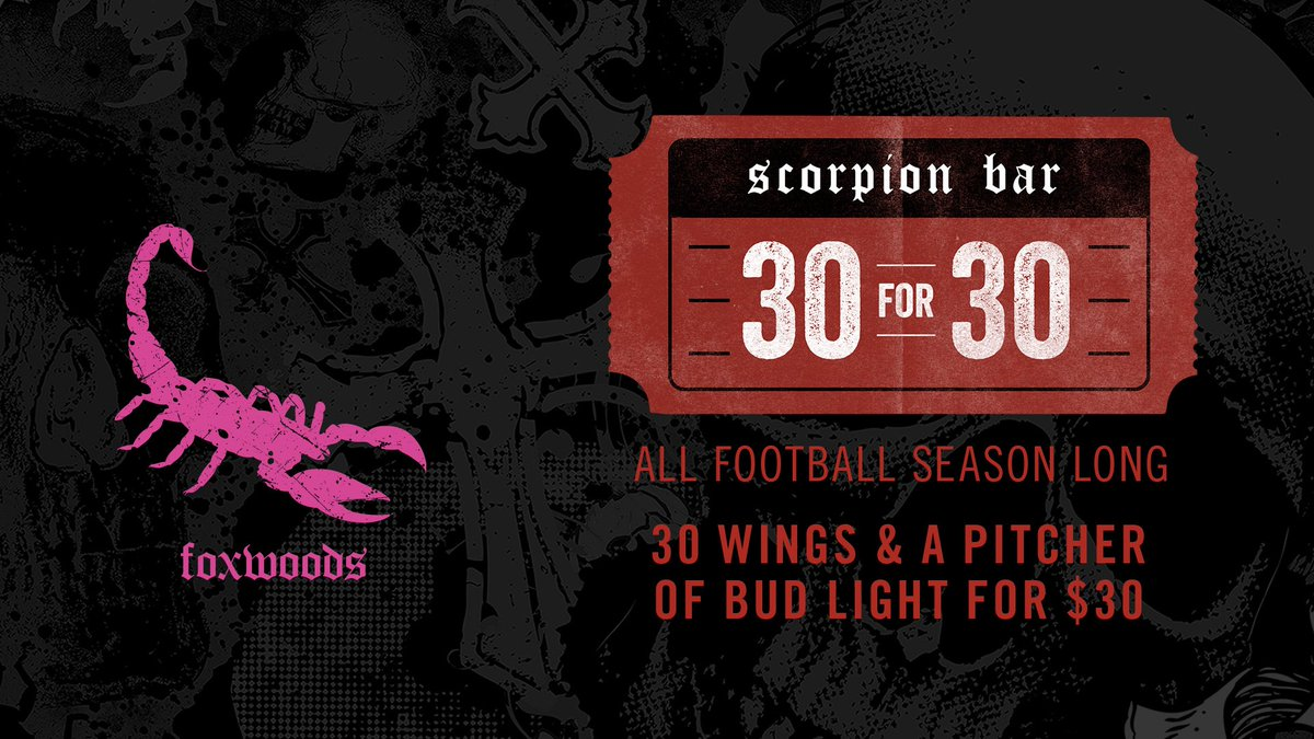 A full day of football including the @Patriots  Watch all the games with us and our #30for30 special. 🍗+🍺+🏈=🦂