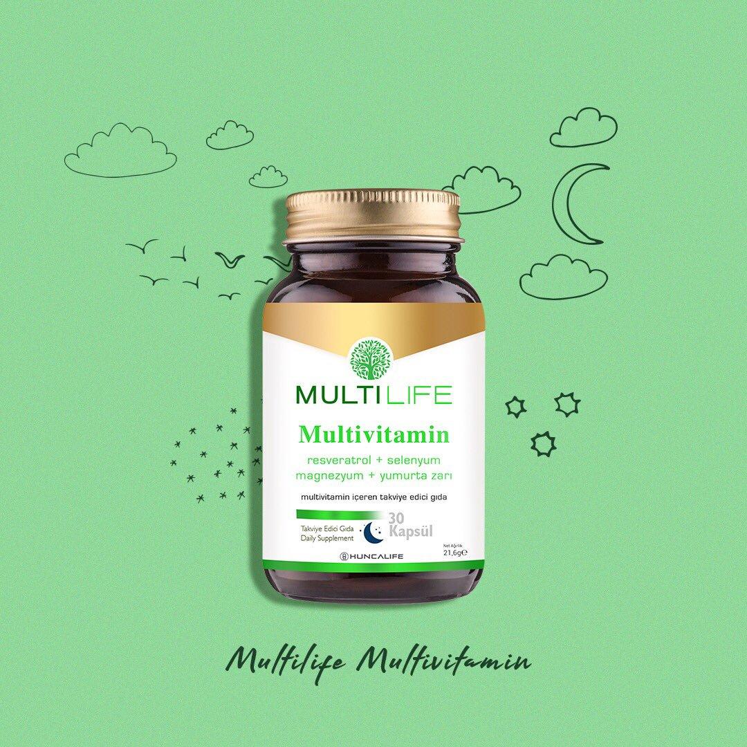 Multilife Multivitamin ile hep zinde kal! İçinde bulunan kalsiyum ve magnezyum normal enerji oluşum metabolizmasına yardımcı olurken; B12 vitamini vücutta bulunan yorgunluk ve bitkinlik hissinin azalmasına yardımcı olur.