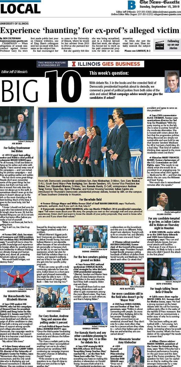 In today's @news_gazette : Post-debate advice for @DNC  candidates hoping to face @realDonaldTrump  in 2020 — from @TheRickWilson  @RahmEmanuel  @jennifereduffy  @politicoroger  @LarrySabato  @GovRichardson  @JoeTrippi  @neeratanden  @alicetweet  @DavidCornDC  & more:  https://www.news-gazette.com/news/the-big-with-jeff-d-alessio-sept/article_a28b5c2a-3493-5172-8072-de0e91e908fe.html  …