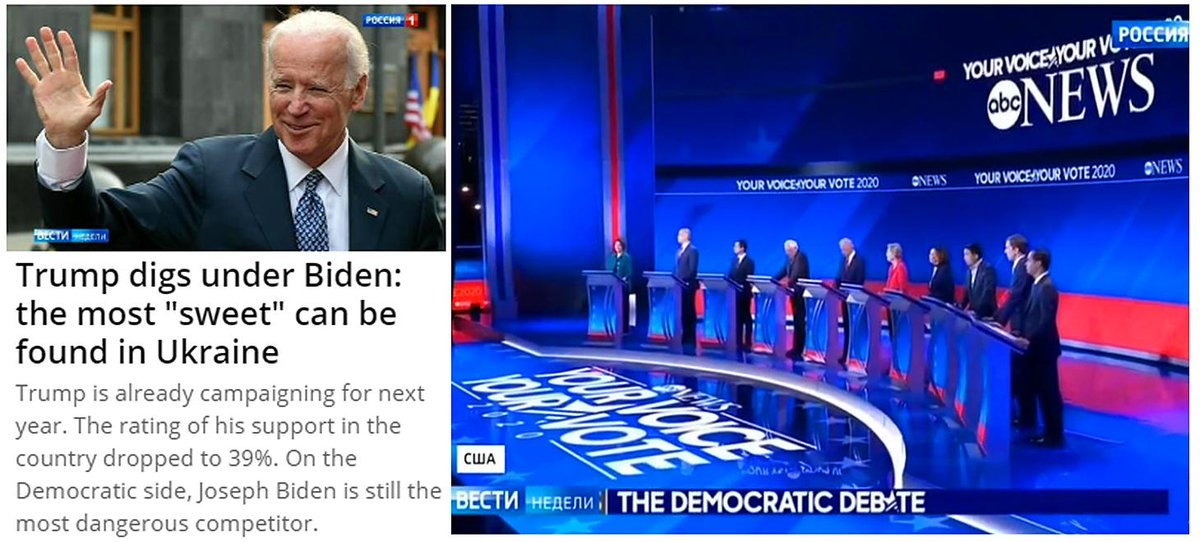 """#Russia's state TV names Joe Biden as """"Trump's most dangerous rival,"""" host Dmitry Kiselyov says Trump should keep digging in Ukraine for """"the sweetest"""" kompromat of all: """"proving that Ukraine—not Russia—interfered in the U.S. elections."""""""
