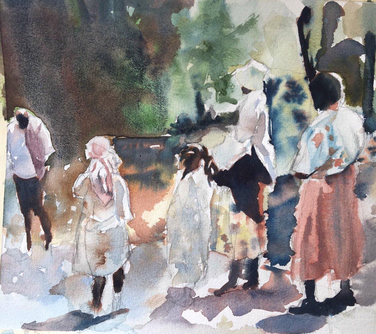 """Backwoods Baptism"" 9""x12"" Watercolor on cotton $2000 mentnelson.com"